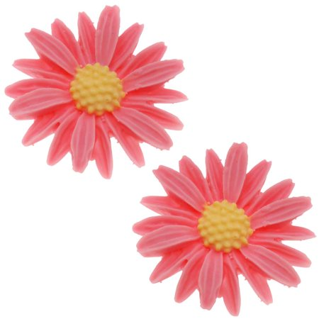 Multi Daisy Flower - Lucite Flower Cabochons Carved Pink Daisy 27mm (2)
