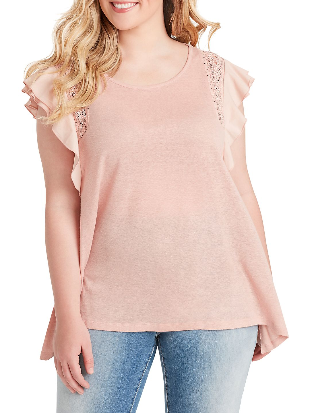 Plus Relaxed-Fit Moya Lace-Trimmed Top