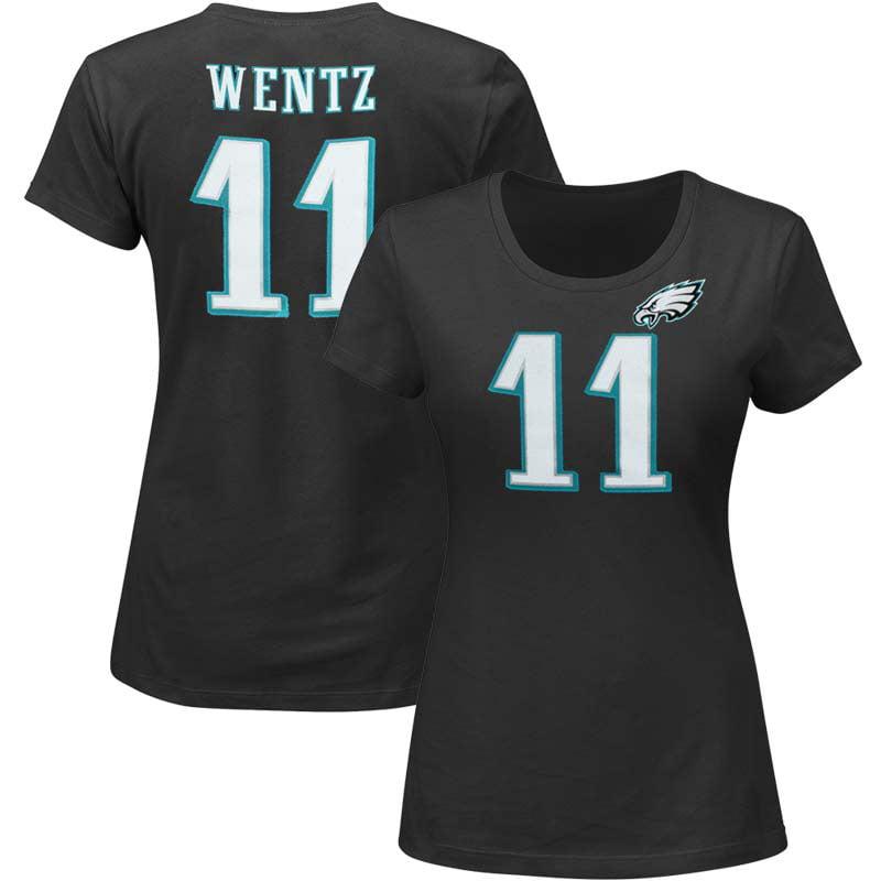 Carson Wentz Philadelphia Eagles Majestic Women's Plus Size Fair Catch Name & Number T-Shirt - Black