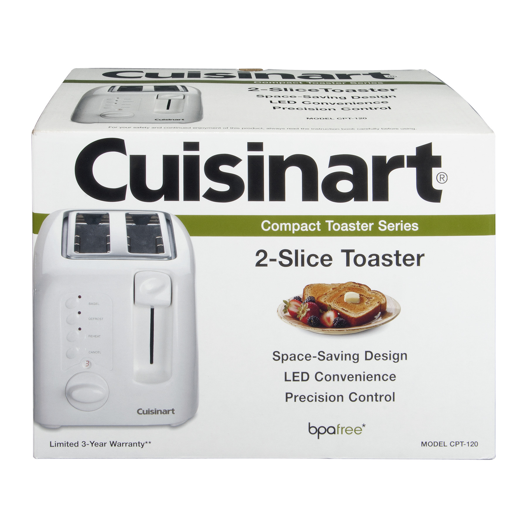 Cuisinart CPT-120 Compact Cool-Touch 2-Slice Toaster, White