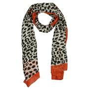 Womens Fashion Wraps Leopard Print with Red Border Neck Head Scarf Silk Shawls Accessories