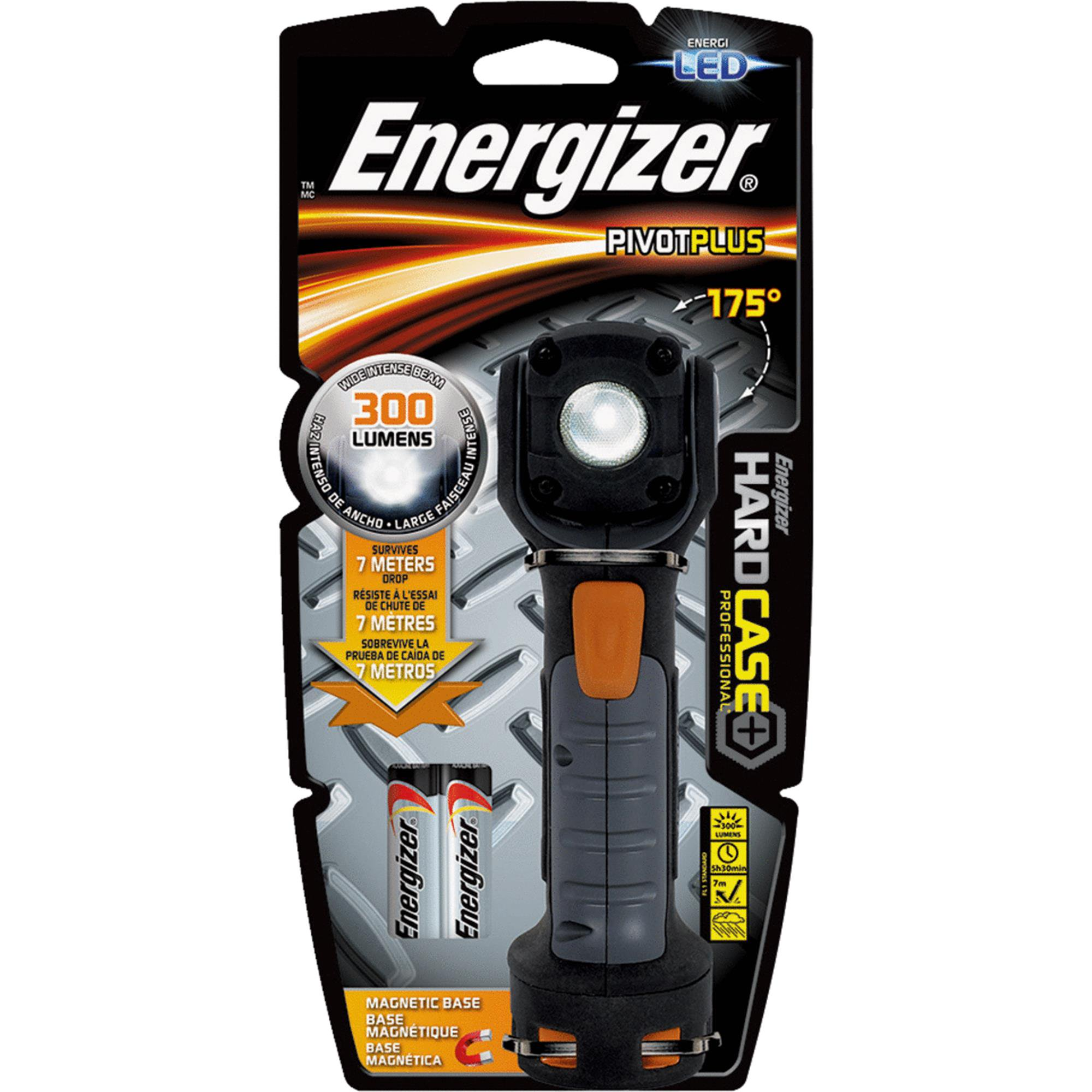 Energizer LED AA Work Light, Hard Case Professional PivotPlus Light, 5 Hour Run Time, 300 Lumens (Batteries Included)