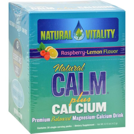 Natural Vitality Raspberry Lemon Flavor Natural Calm Plus Calcium Dietary Supplement  30 Count