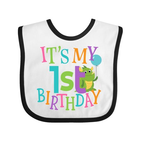 1st Birthday Bib (Cute First Birthday Monster 1 Year Old Baby)