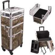 Leopard Printing Texture 4-Wheels Professional Rolling Aluminum Cosmetic Makeup Case  and Nail Case with Clear Panel Foundation Holder & Dividers - I31061