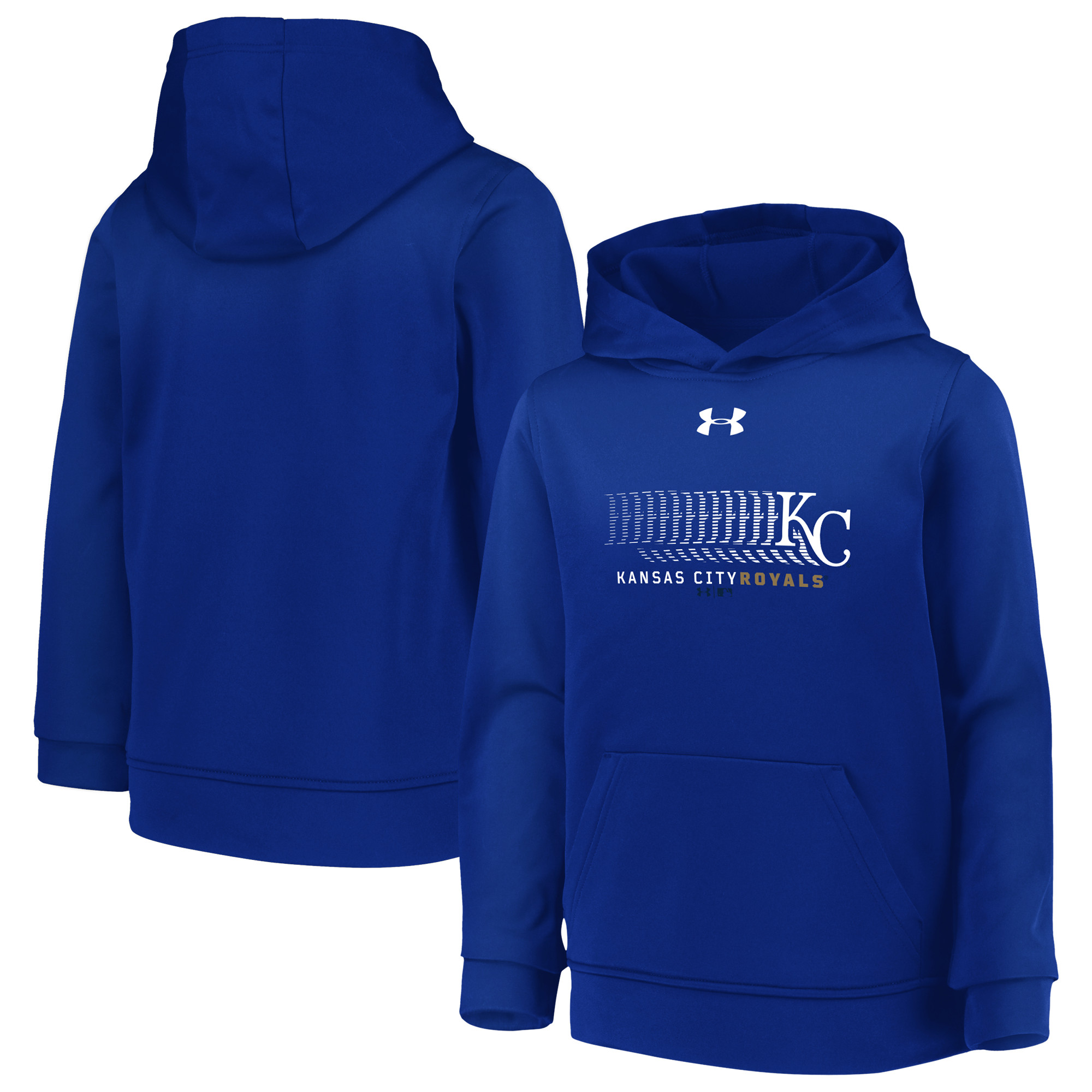 Kansas City Royals Under Armour Youth Hooded Armour Fleece Pullover - Royal