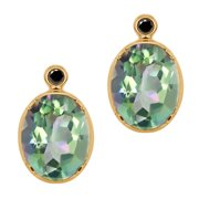 4.62 Ct Oval Cassiopeia Mystic Topaz Black Diamond 18K Yellow Gold Earrings