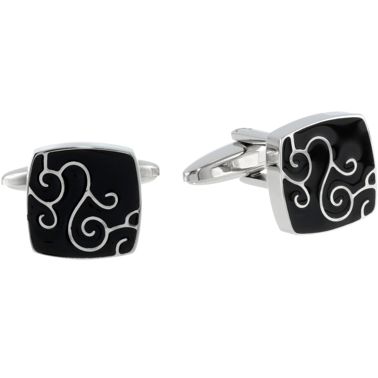 Stainless Steel Cufflinks Black IP Accent and Filigree Design