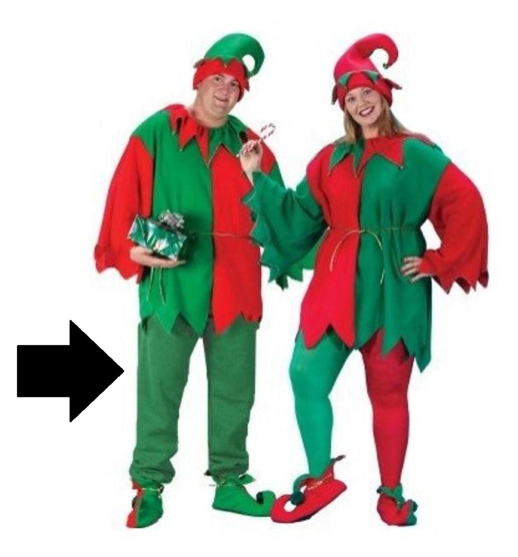 Unisex Playful 5-Piece Christmas Elf Costume Set - Men's/Women's Plus Size