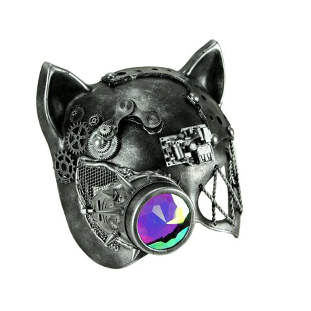 Kitty Cat Mask (Steamkpunk Cat Robot Kitty Halloween Mask with Light Refraction)