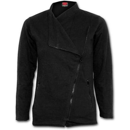 Spiral Direct METAL STREETWEAR Fleece Slant Zip Women Biker Jacket