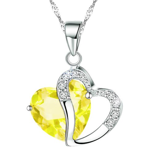 "KATGI Fashion Austrian Yellow Crystal Heart Shape Pendant Necklace, 18"" Chain"
