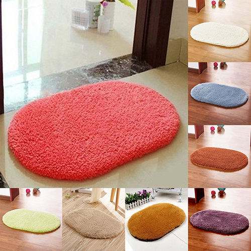 Fashion Non-Slip Absorbent Home Bathroom Bedroom Door Floor Shower Oval Mat Rug Decor 40*60cm