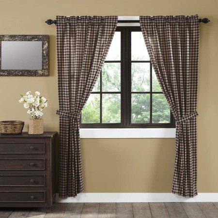 Soft Black Classic Country Curtains Denton Rod Pocket Cotton Tie Back(s) Plaid Panel - Classic Curtain Panel