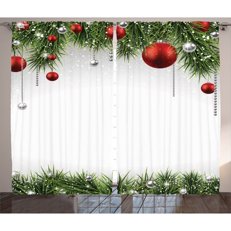 Christmas Curtains 2 Panels Set, Classical Christmas Ornaments and Baubles on Pine Tree Twig Tinsel Picture Print, Living Room Bedroom Decor, Green Red, by - Lucite Bauble