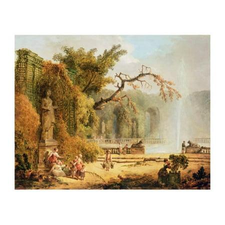 Romantic Garden Scene Print Wall Art By Hubert Robert (Romantic Scent)