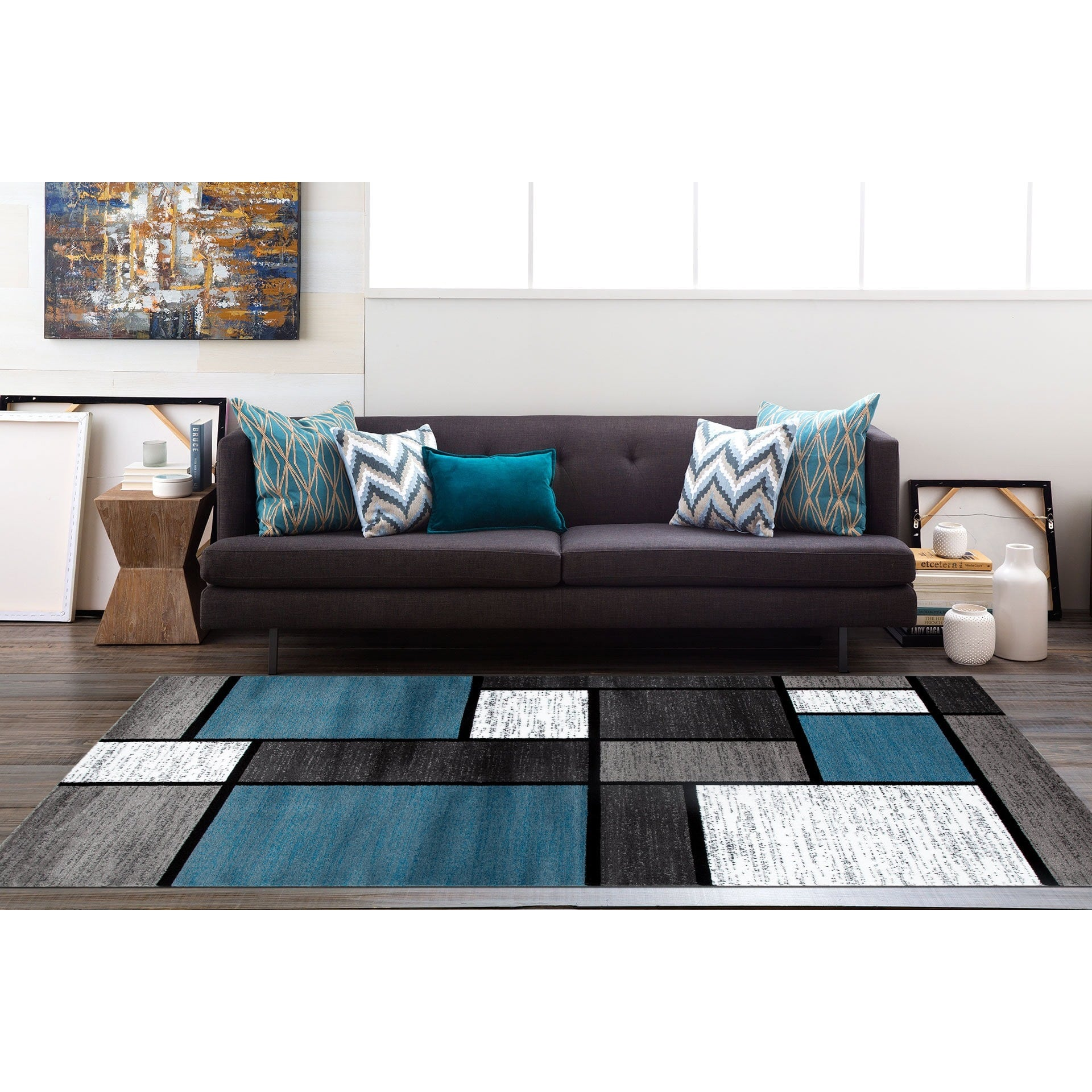 Blue Black White Grey Polypropylene Contemporary Modern Boxes Area Rug or Runner by World Rug Gallery