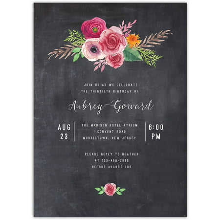 Blooming Birthday Birthday Milestone Invitation (Halloween Birthday Invitation Quotes)
