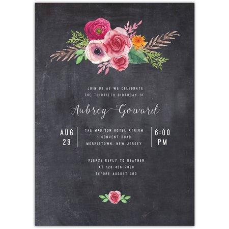 Blooming Birthday Birthday Milestone Invitation](Halloween Birthday Invitation Verses)