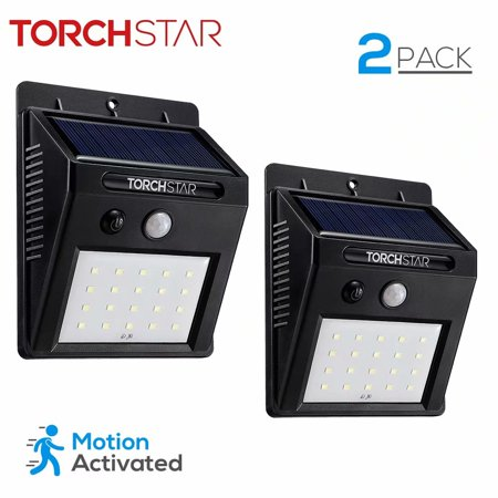 20 LED 320lm Outdoor LED Solar Powered Motion Sensor Lights, Wireless Outdoor Wall Lights, Black, Pack of 2