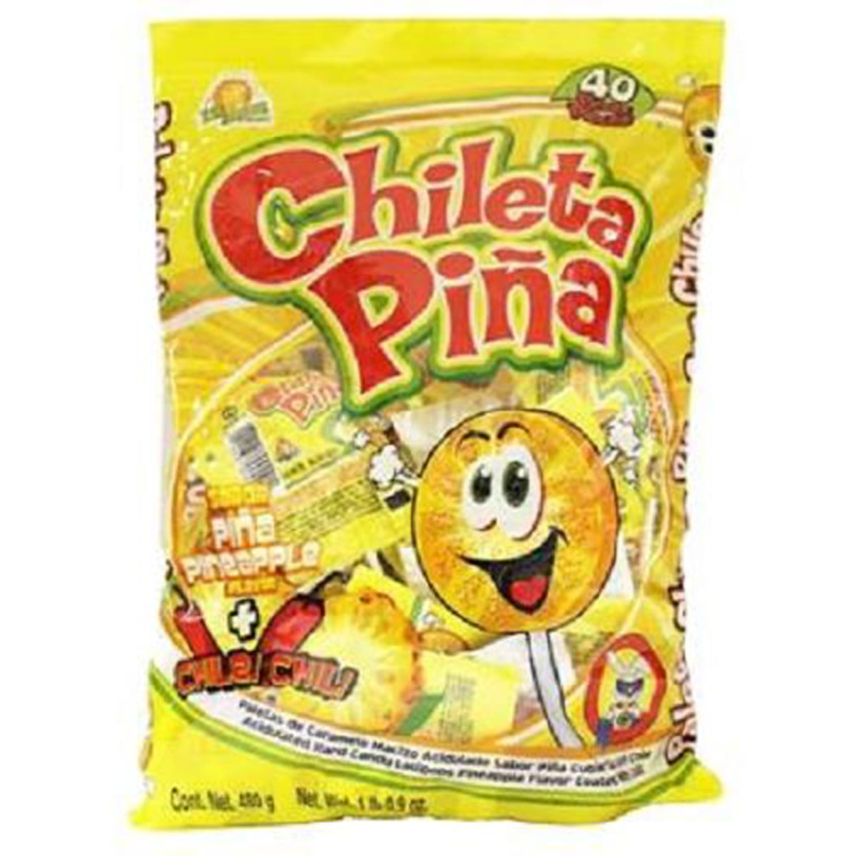 El Azteca Chileta Pina, Chile Pineapple Lollipops, Bag of 40 by