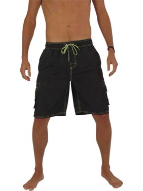 Norty Mens Swim Trunks - Watershort Swimsuit - Cargo Pockets - Drawstring Waist Aqua 2 / Large