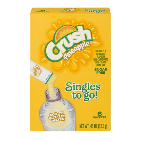 (12 Pack) Crush Singles To-Go Drink Mix, Pineapple, .45 Oz, 6 Packets, 1 Count
