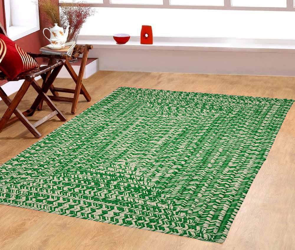 Furnishmyplace Palm Tree Green 100% Polypropylene Braided 10x13   Area Rug