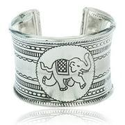 Metallic Cuff Bangle with Elephant Design