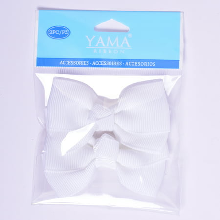 Yama Ribbon WHite Grosgrain Bows, 2 Count