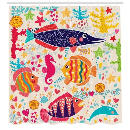 Sea Animals Shower Curtain, Cartoon Art with Fish Seahorse Starfish Dolphin Coral Underwater Life Kids, Fabric Bathroom Set with Hooks, Multicolor, by Ambesonne ()