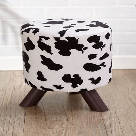 Taokaenoi Roilarn Animal Chair Print Ottomans Foot Stool Cowhide White/black Western Lodge Home ()
