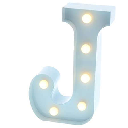 Barnyard Designs Metal Marquee Letter Flat J Light Up Wall Initial Nursery Letter, Home and Event Decoration 9