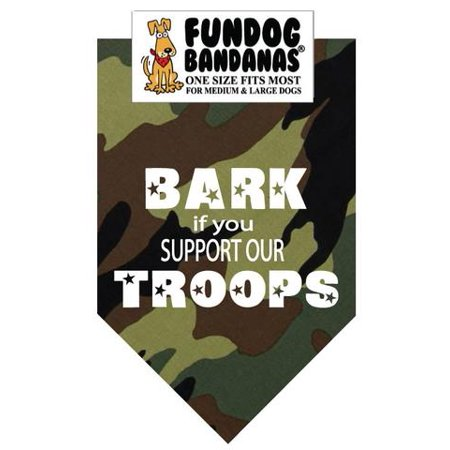 Troops Dog T-shirt (Fun Dog Bandana - Bark if you Support Our Troops - One Size Fits Most for Med to Lg Dogs, green camo pet scarf)