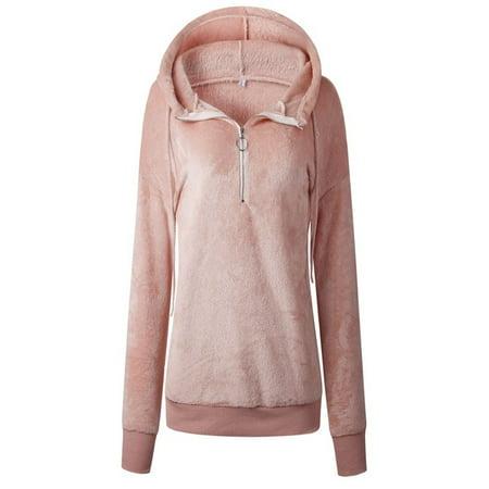 Women Sweater Hood Zipper Solid Color Long Sleeve Casual Warm Loose Tops Zipper Hooded Sweater