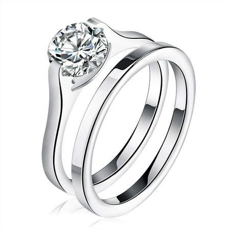 Ginger Lyne Collection Stainless Steel Bridal Engagement Ring Band Wedding Set 6 (Engagement Bridal Sets)