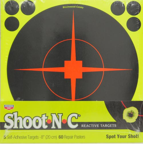 BIRCHWOOD CASEY 8 INCH SHOOT N C REACTIVE TARGETS - 5 SHEET PACK, 60 REPAIR PASTERS