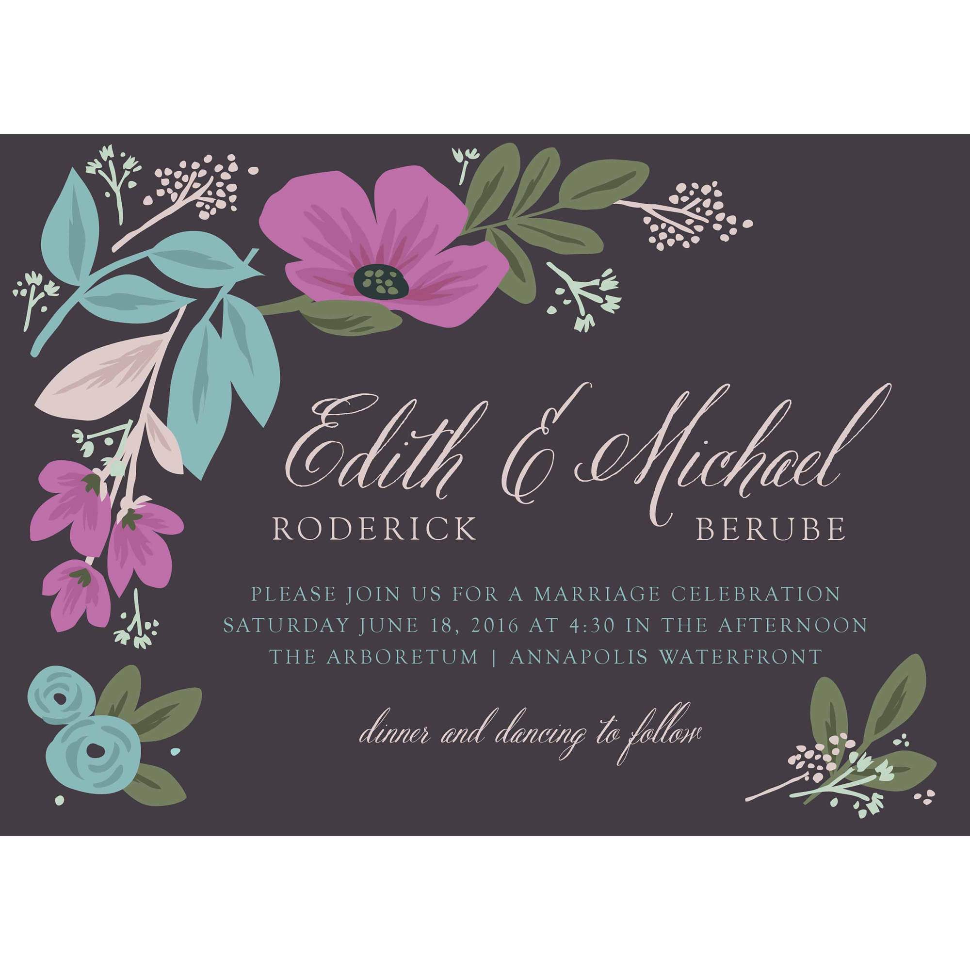 Sketchbook Botanical Standard Wedding Invitation