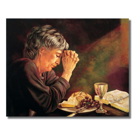 Gratitude Lady Praying Table Daily Bread Religious Wall Picture 8x10 Art - Breed Wall