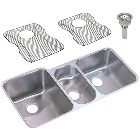 Elkay ELUH4020DBG Harmony Lustertone Stainless Steel Triple Bowl Undermount Sink Kit