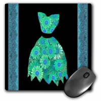 3dRose Teal green and turquoise flowered dress on black background with damask ribbons, Mouse Pad, 8 by 8 inches