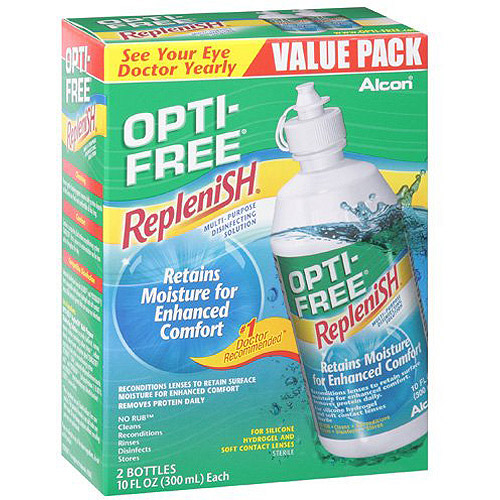 Alcon Opti-Free Replenish Contact Lens Care Cleaning & Disinfecting Solution - 2x10 fl oz
