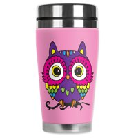 Mugzie brand 16-Ounce Stainless Steel Travel Mug with Insulated Wetsuit Cover - Pink Owl