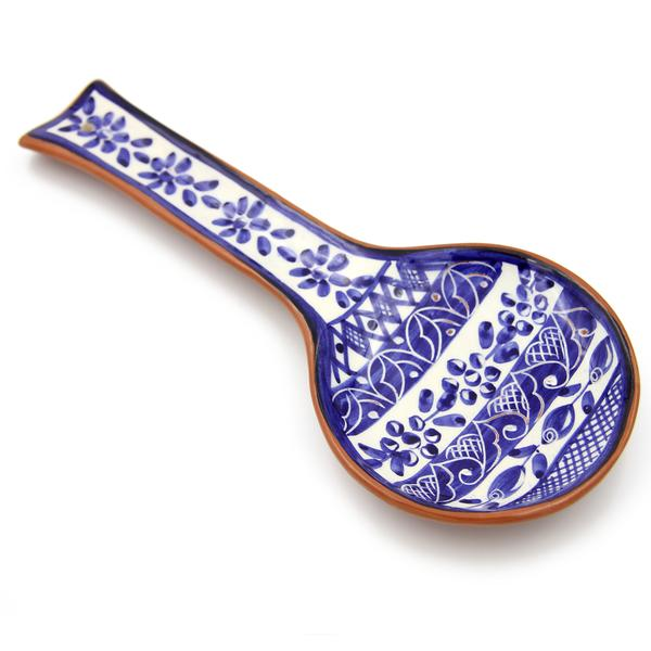 Hand-painted Vintage Traditional Portuguese Terracotta Clay Spoon Rest