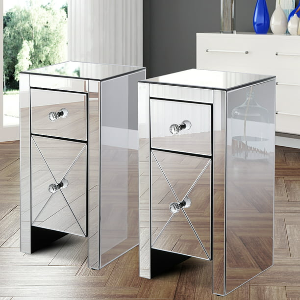Jaxpety Set Of 2 Mirrored Nightstand, Silver Mirror Side Table