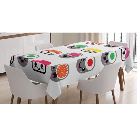 Sushi Tablecloth, Cute Kawaii Style Sushi Symbols Smiling and Yawning Expressions Kids Cartoon Concept, Rectangular Table Cover for Dining Room Kitchen, 52 X 70 Inches, Multicolor, by Ambesonne