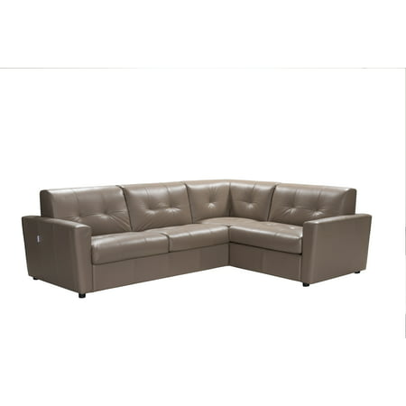 ACME Sogna Leather Sectional Sleeper Sofa in Taupe, Made in Italy