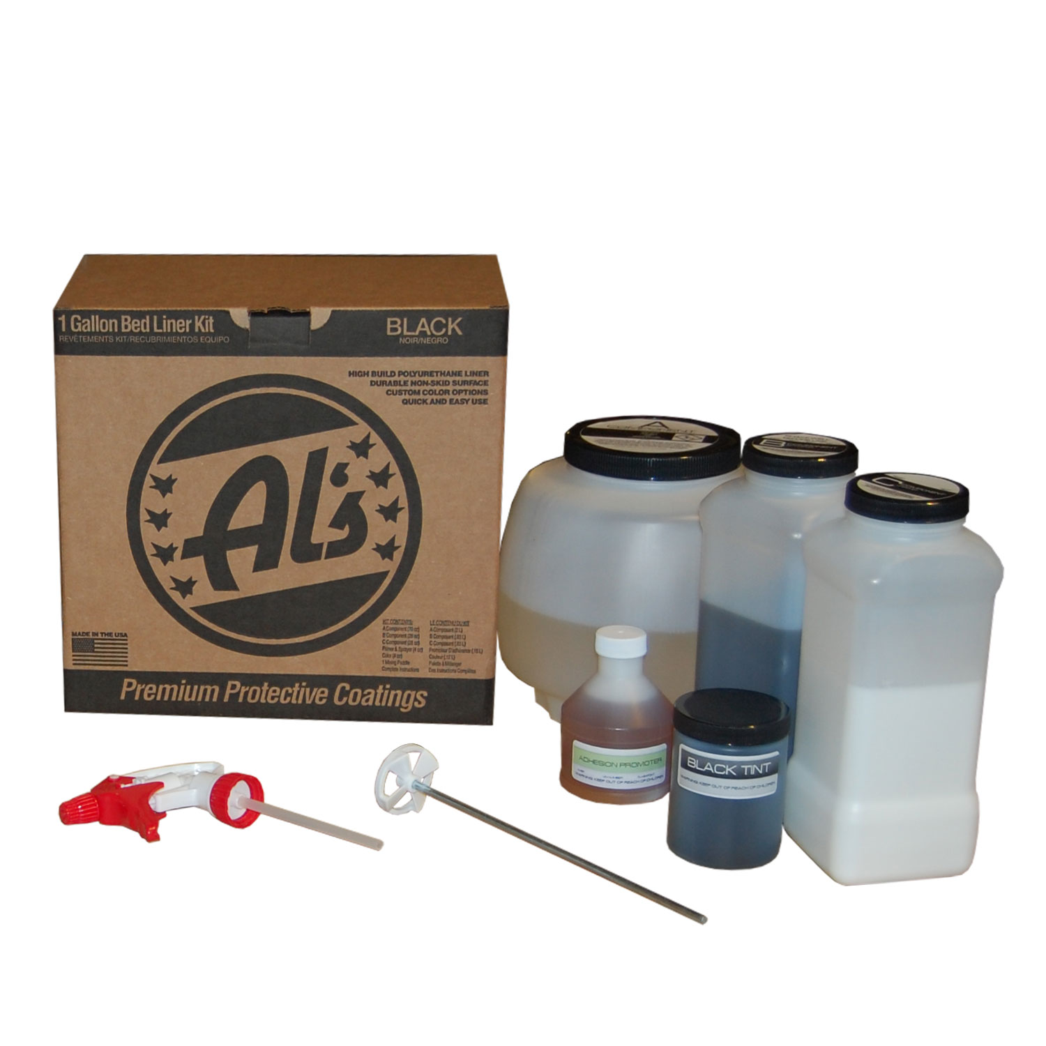Al's Liner One Gallon DIY Spray On Roll On Truck Bed Liner Kit Black