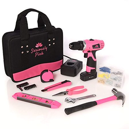 SP12V121PKT- SERIOUSLY PINK 12V CORDLESS ELECTRIC LITHIUM ION DRILL/DRIVER FOR WOMEN AND HAND TOOL ESSENTIAL KIT