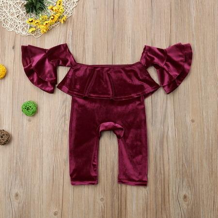 c7f8c26077b New Kids Baby Girl Off Shoulder Velvet Ruffle Romper Jumpsuit 2Pcs Outfit  Clothes - Walmart.com